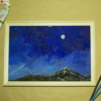 Картина маслом холст, ночной пейзаж