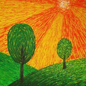Оранжевый пейзаж. Энергетичекая живопись. Холст 24x30 см. Акрил.