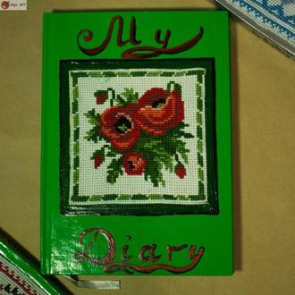 """Блокнот с вышивкой крестом """"Маки"""" Подарок Украинский сувенир"""
