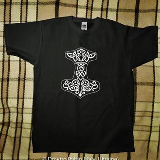 Эксклюзивная футболка. Молот Тора. Символ викингов, скандинавской мифологии.
