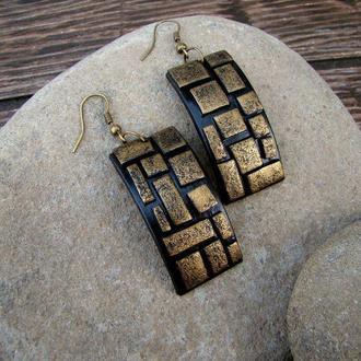 Серьги бронзовая мозаика