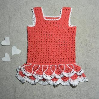 Платье детское красное из хлопка и льна