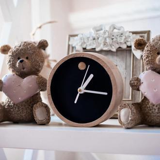 """Настольные деревянные часы """"Mini Black"""""""