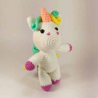Пони-Единорог Кудряшка, мягкая игрушка вязаная крючком, амигуруми подарок