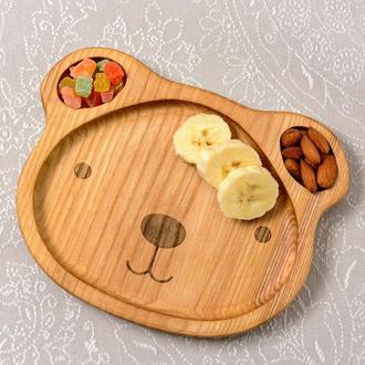 Детская деревянная тарелка в виде мишки