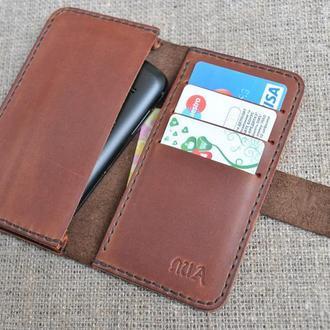 Универсальный чехол-кошелек из натуральной кожи H01-450+210