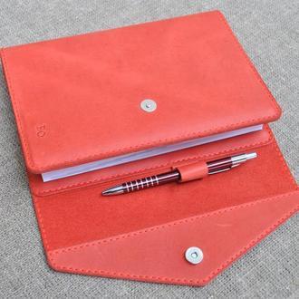 Многофункциональная красная обложка для блокнота из натуральной кожи B18-580