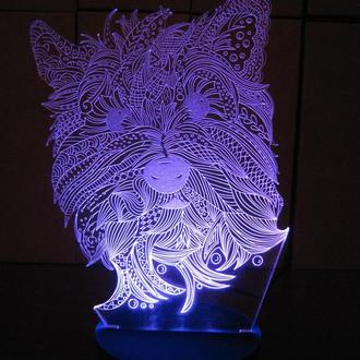 Терьер, светильник, ночник, лампа, собачка, собака, питомец, оригинальный подарок, декор, освещение
