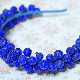 Обруч ободок с ягодами калины синий