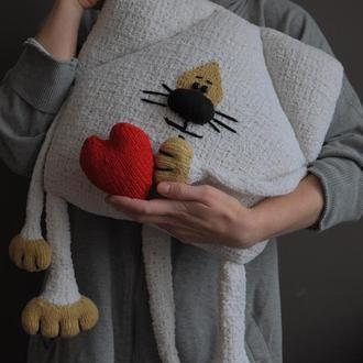 """КотоПодушка """"Біленький котик з кофейною мордочкою"""""""