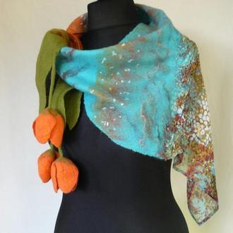Валяная шаль ручной работы - модный женский шарф