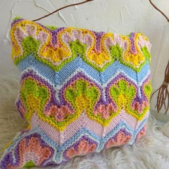 Вязаный чехол на декоративную подушку