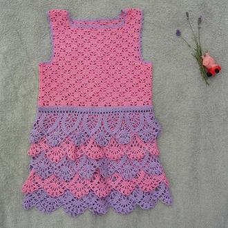 Платье детское розовое ажурное