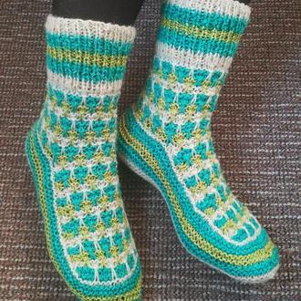 Носки из натуральной овечьей шерсти шкарпетки носочки вязаные подарок