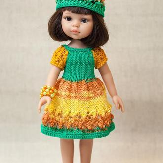 Одежда для куклы Паола Рейна. Желтый комплект с шапочкой