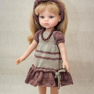 Одяг для ляльок Паола Рейну. Сіро-коричневе плаття льон в стилі бохо.