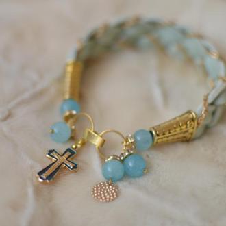 Кожаный плетеный браслет с кварцем ′Крестик′