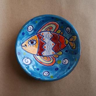 """Тарілка керамічна декоративно-ужиткова """"Риба"""""""