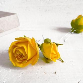Шпильки с желтыми розами (3 шт)