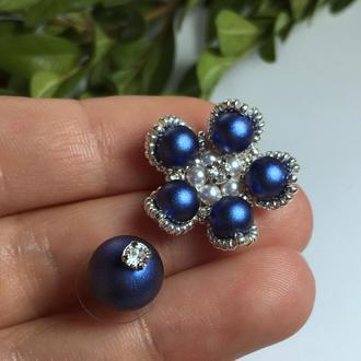 Цветочные серебряные серьги Swarovski перламутровый синий из ювелирного бисера