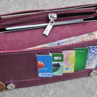 Красивый вместительный кошелек из натуральной кожи K41-800