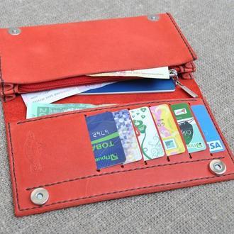 Красный  большой кошелек из натуральной кожи K60-580+brown