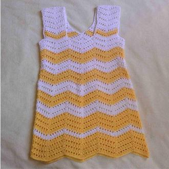 Платье детское белое с желтым из хлопка