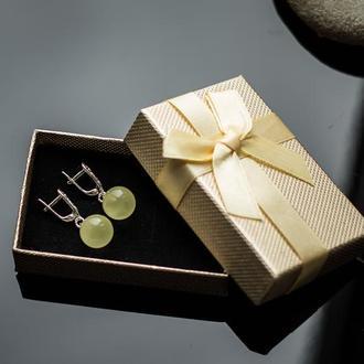 Серебряные серёжки с янтарем