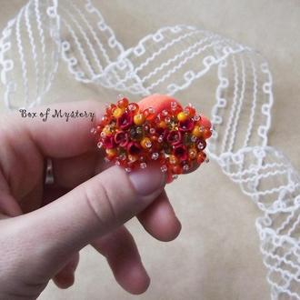 Резинки для волос с цветами, пара резинок, подарок девочке, оранжевые резиночки, цветочное украшение