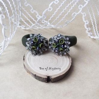 Резинки для волос с цветами, пара резинок, подарок девочке, оливковые цветы, цветочное украшение