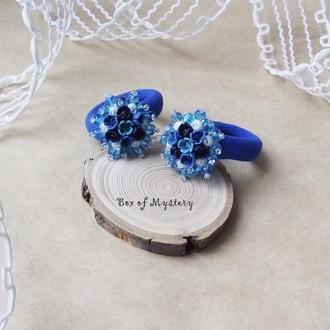 Синие цветочные резинки, цветы ручной работы, аксессуары для волос, пара резинок, подарок девочке