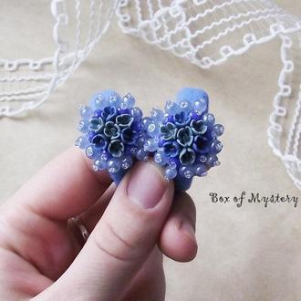 Резинки для волос, цветочные резинки, синие резинки с цветами ручной работы, подарок девочке