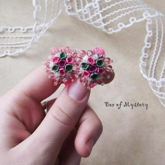 Розовые резинки для волос, пара резинок, резинки с цветами ручной работы, цветы миниатюра