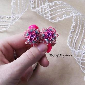 Резинки с цветами, розовые резинки для волос, пара резинок, цветы миниатюра, подарок девочке