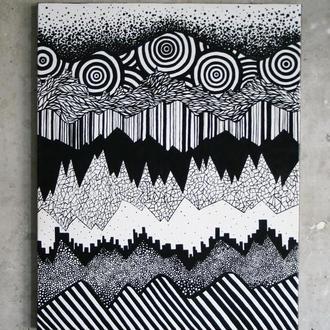 """Картина маслом """"Doodle mountain"""""""