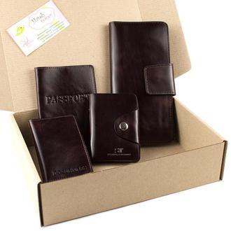 Набор №11 (коричневый): обложка на паспорт, документы, картхолдер, кошелек