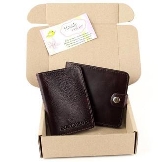 Набор №16 (коричневый): портмоне, мини-обложка на документы