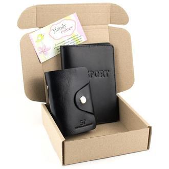 Подарочный набор №6 (чёрный): обложка на паспорт + картхолдер