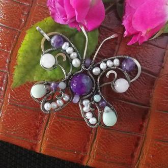 """Кулон """"Бабочка"""" из нейзильбера с натуральным камнями"""