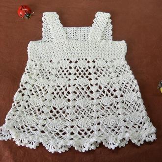 Платье детское белое ажурное из хлопка