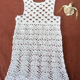 Платье детское белое из хлопка и льна