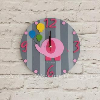 Детские деревянные настенные часы Слон серые