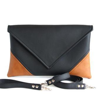 Клатч черный коричневый с ремешком на запястье и ремешком через плечо