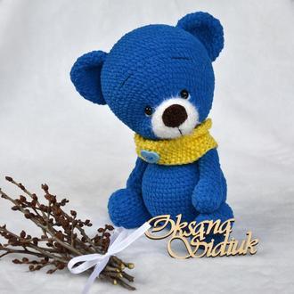 Ведмедик в'язаний Синій Плюшик