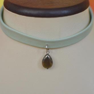 Чокер кожаный с подвеской из пирита ′Пирит′ сталь