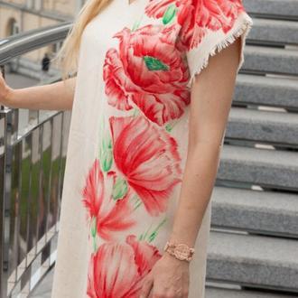 Туника-блузка женская льняная с ручной росписью - маки