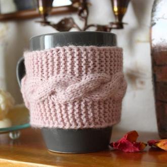 Чехол на чашку, одежда на кружку, теплушка на чашку розового цвета