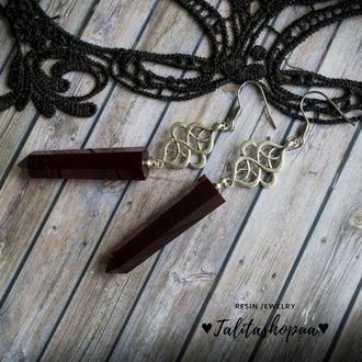 Длинные темно красные серьги в готическом стиле - ♥ Бесплатная доставка ♥