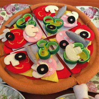 Пицца из фетра, кукольная еда