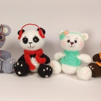 Карманный Медвежонок, панда, коала, белый, мягкая игрушка. вязаный крючком, амигуруми, подарок